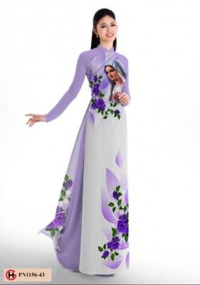 Vải áo dài hình Đức Mẹ-DT4127